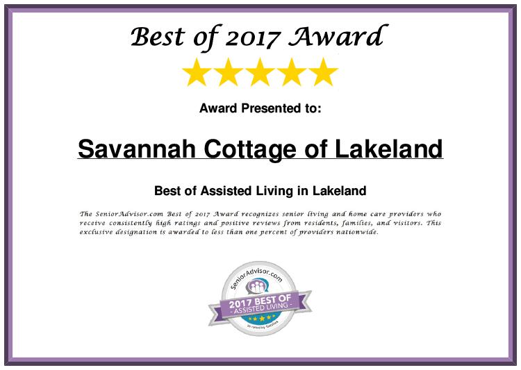 Savannah Cottage of Lakeland Best of 2017