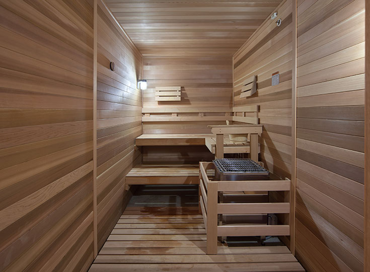 Skye at Arbor Lakes offers a sauna for residents to relax.