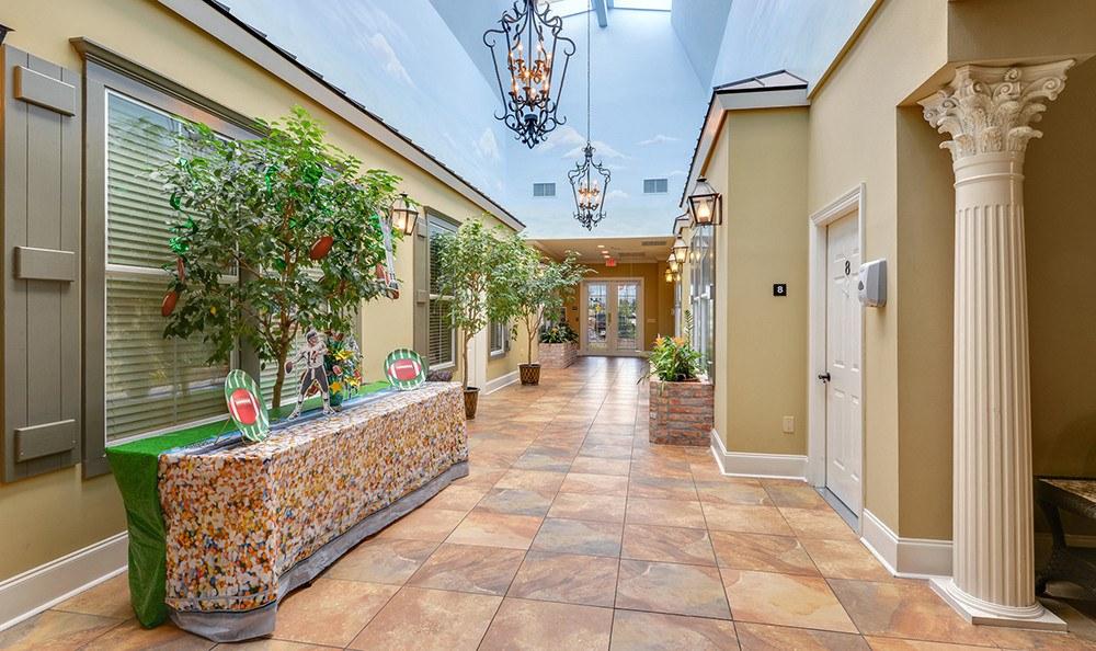 Senior Living in Baton Rouge has open Hallways