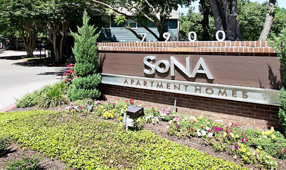 The entrance sign at SoNA in Austin, SoNA