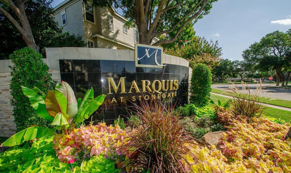 The monument sign at Marquis at Stonegate