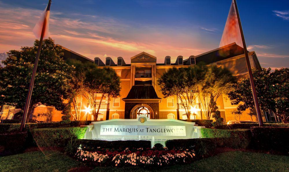 illuminated entrance sign at Marquis at Tanglewood in Houston, TX