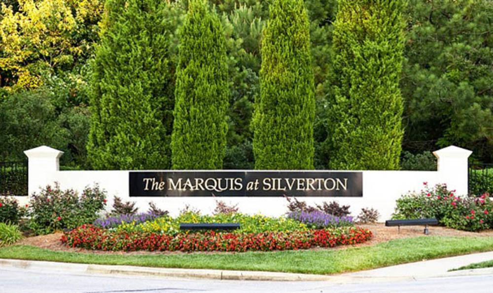 Community entrance at Marquis at Silverton in Cary