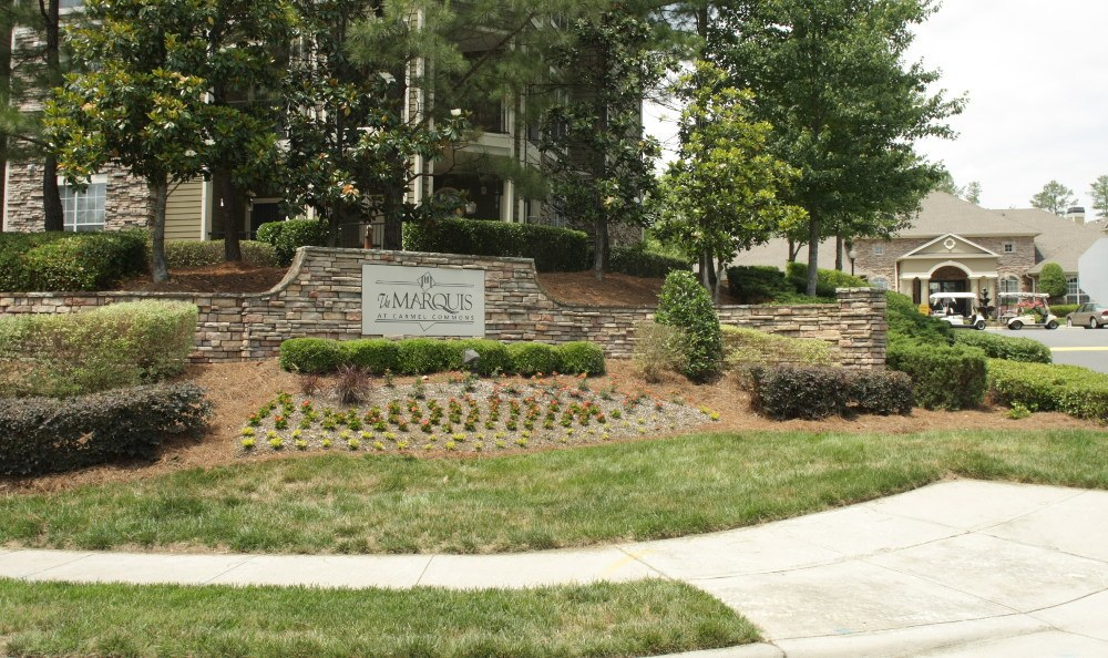 The Entrance sign at Marquis at Carmel Commons in Charlotte, Marquis at Carmel Commons