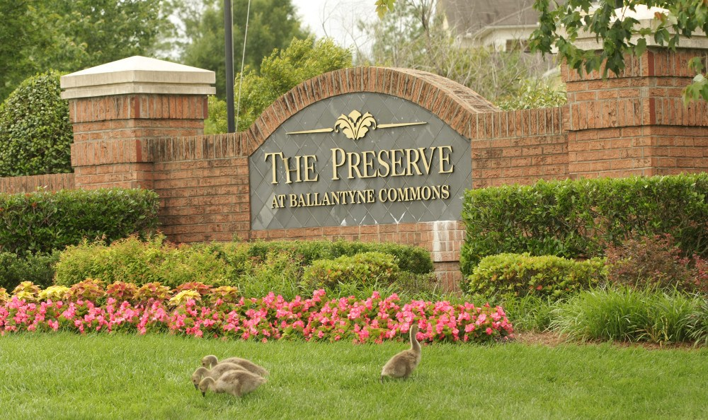The Entrance sign at The Preserve at Ballantyne Commons in Charlotte, The Preserve at Ballantyne Commons