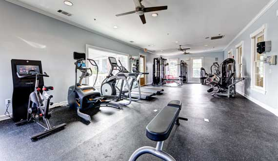 Fitness center at The Marq at Brookhaven.