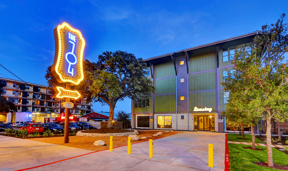 Exterior of leasing office at The 704 in Austin, TX