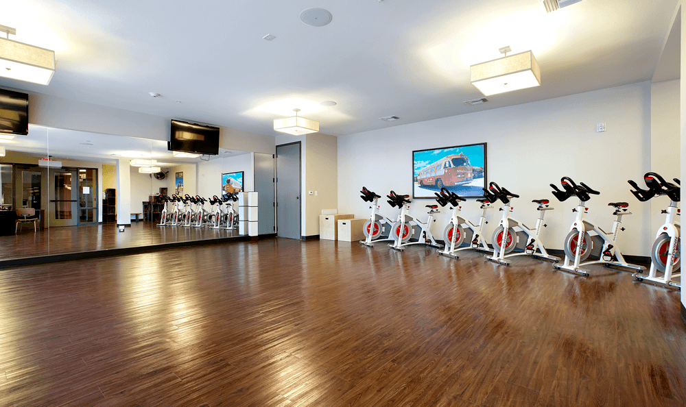 Fitness center at The 704 in Texas