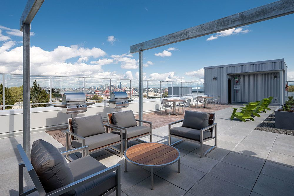 View of the rooftop garden at Marq West Seattle.