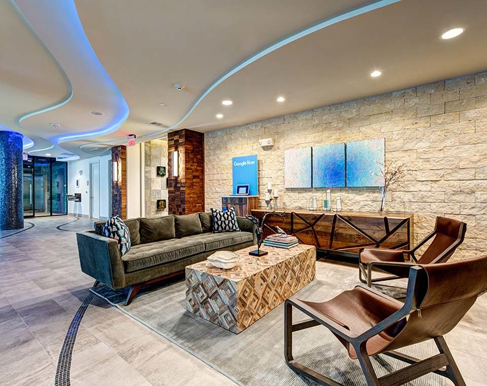 Lobby seating at apartments in Austin, TX