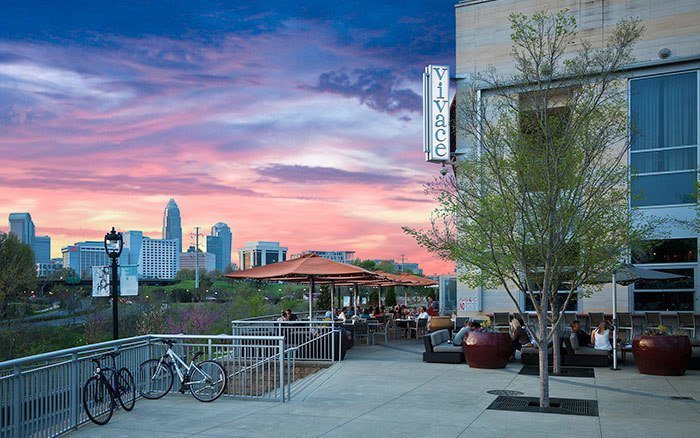 sunset exterior view at Marq Midtown 205 in Charlotte, NC
