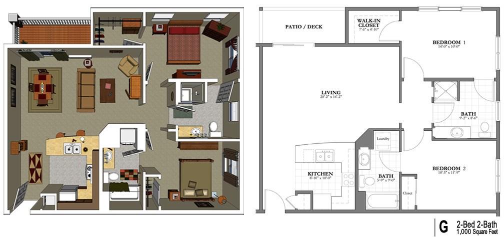 Senior living floor plans lakeview senior living for 2 bedroom retirement house plans
