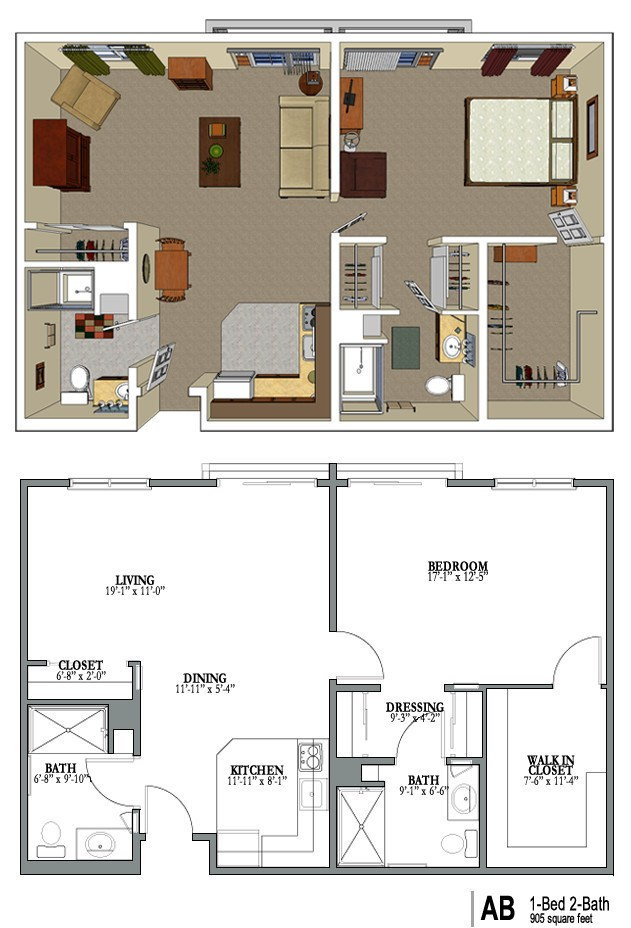 Senior housing floor plans gurus floor for One level living floor plans