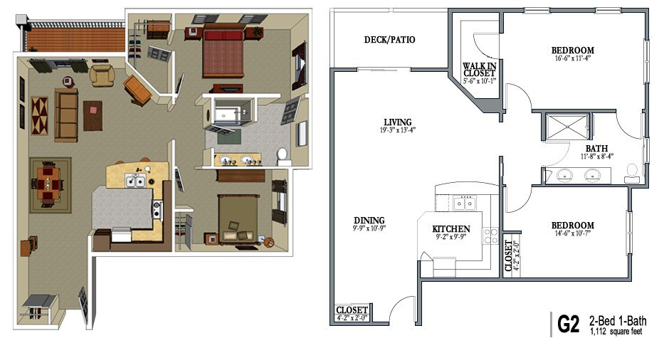 2 Bedroom 1 Bath  View. Senior Living Floor Plans   Crestview Senior Living