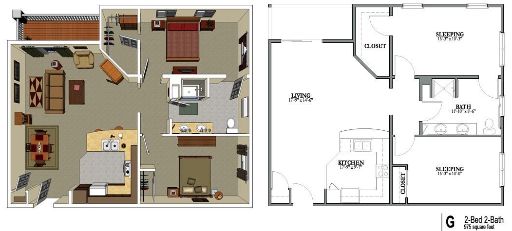 2 Bedroom 2 Bath Floor Plans Gurus Floor
