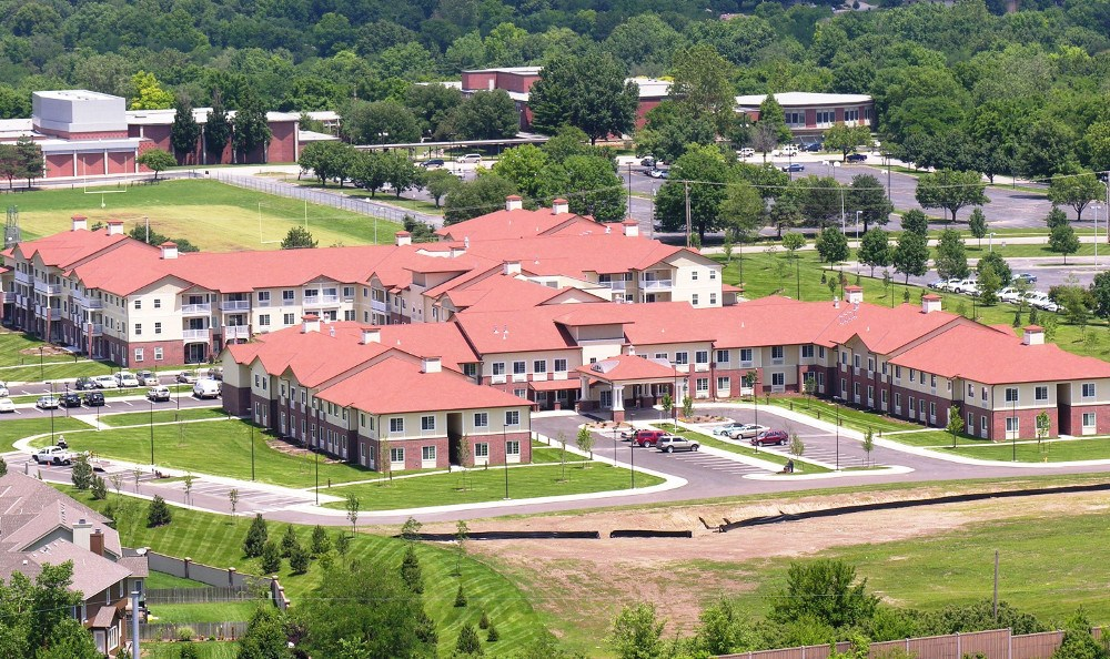 Bird's eye view of our senior living facility in Overland Park, KS