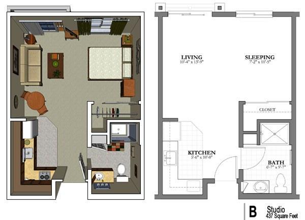 Studio Apartment Floor Plans 480 Sq Ft senior living floor plans | mountain park senior living