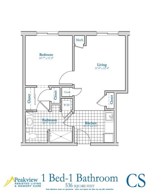Senior living floor plans peakview assisted living for 2 bedroom retirement house plans