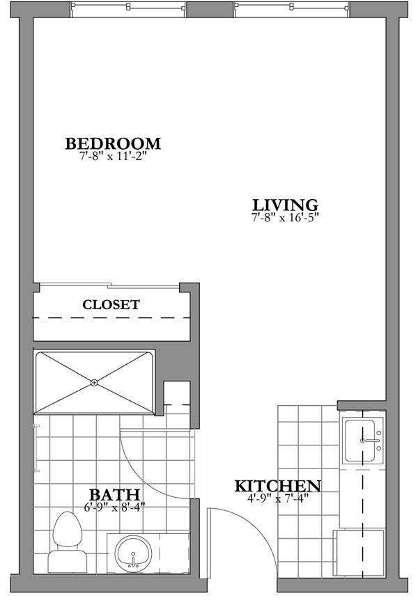this bungalow design floor plan is 200 sq ft and has 1 bedrooms