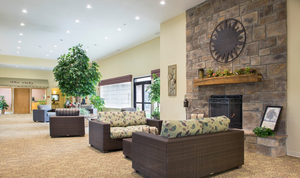 Our Marion senior living facility's fireside lounge