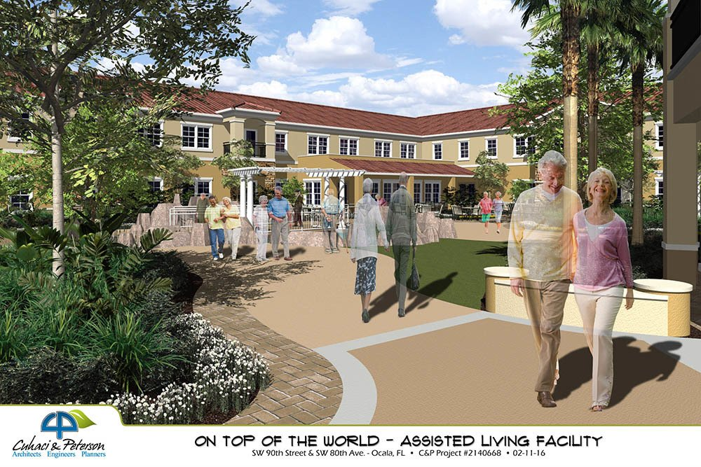 Beautiful Courtyard Bridgewater Park Assisted Living In Ocala