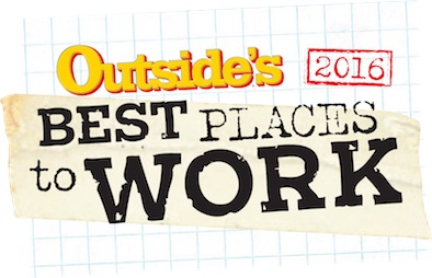 Outside Magazine Best Places to Work Logo Text on Blueprint