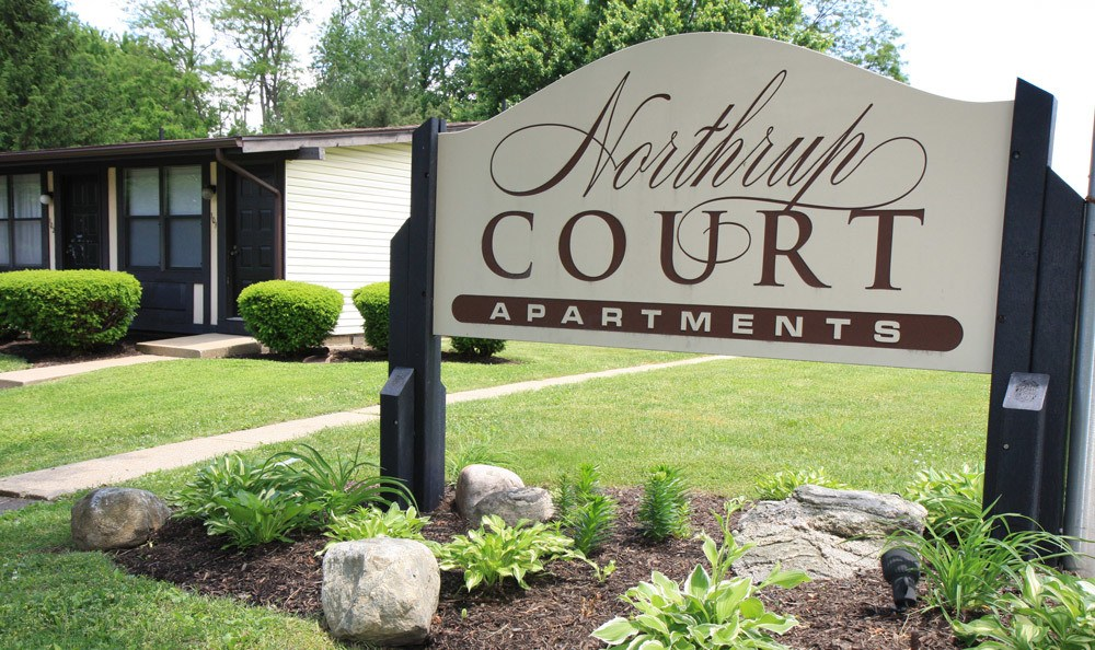 Front Sign At Northrup Court Apartments In North Canton