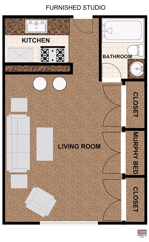 Studio apartment floorplan with balcony