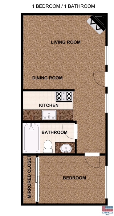 One bedroom apartment floorplan with balcony. 2 Bedroom Townhomes and 1   2 Bedroom Apartments for Rent in