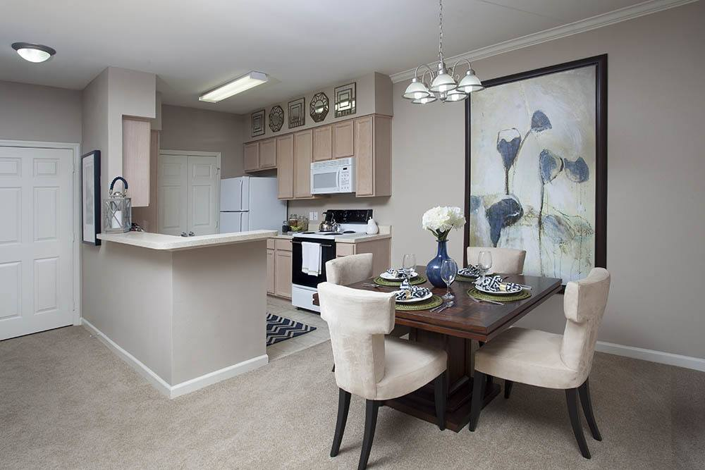 Dining Room And Kitchen Combo At Fountain Lake Apartments