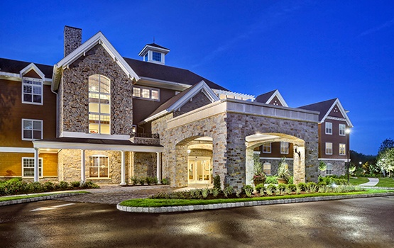 The driveway at our Maplewood Senior Living communities welcome guests and residents alike with stunning architecture.