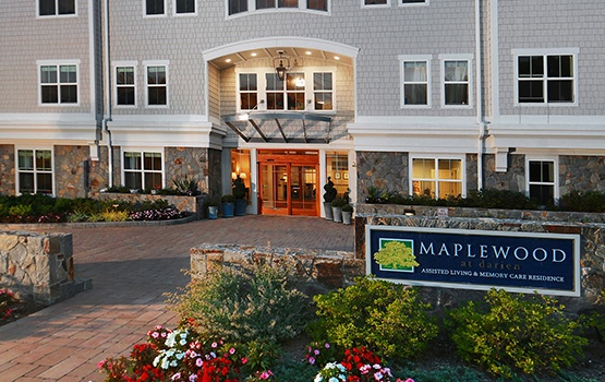 Our sign welcomes residents' guests and family here at Maplewood at Darien.