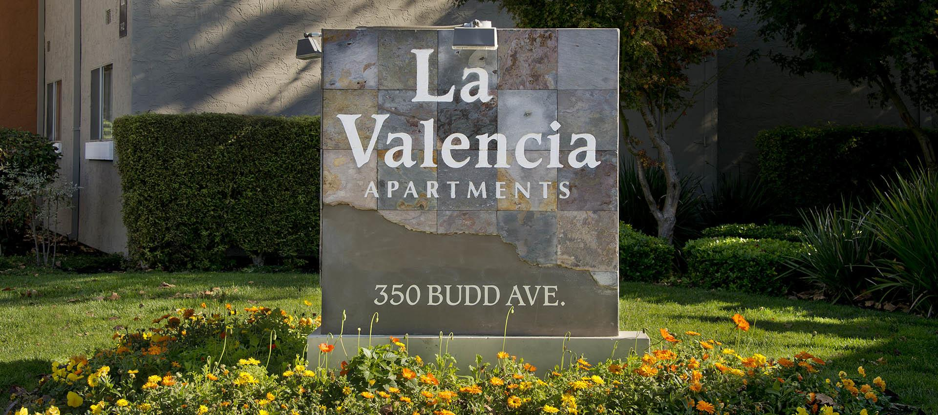 Signage at La Valencia Apartment Homes in Campbell, CA