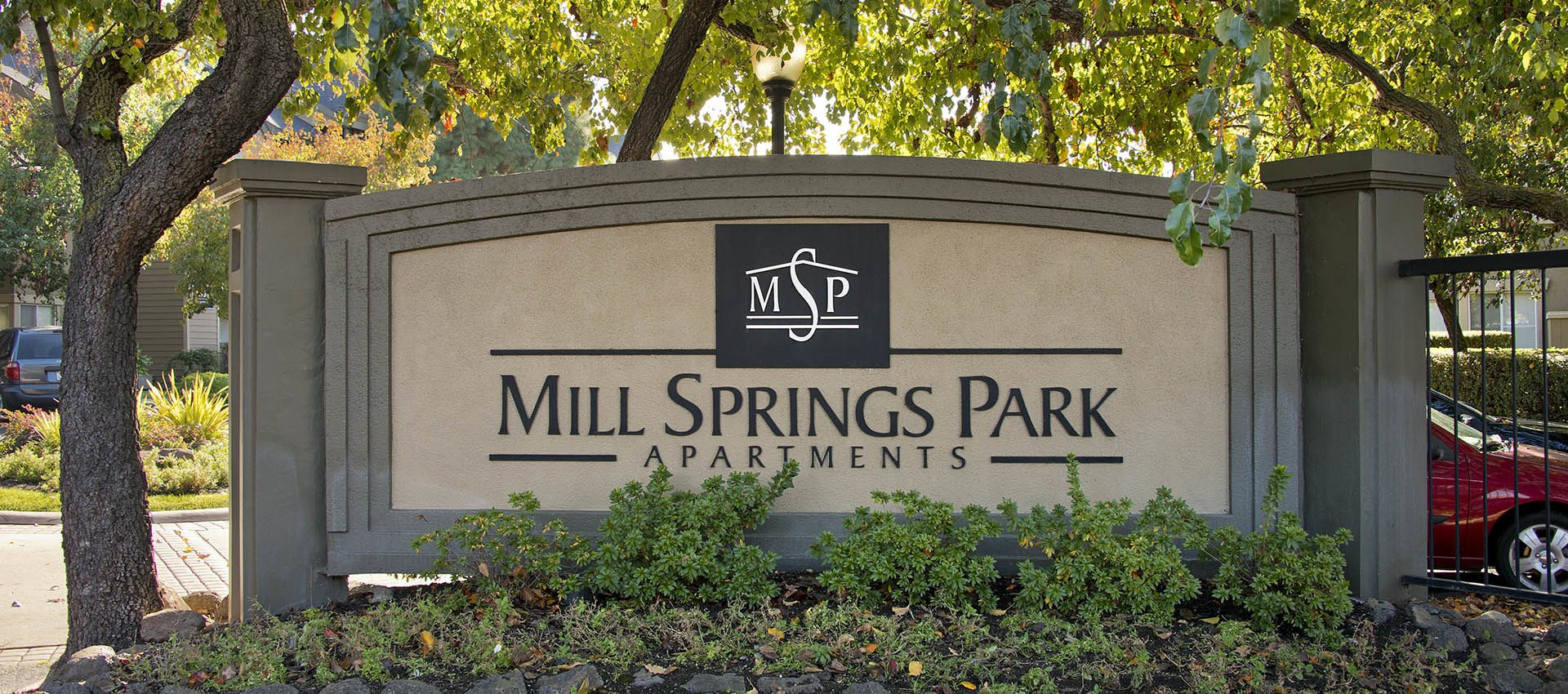 Signage at Mill Springs Park Apartment Homes in CA
