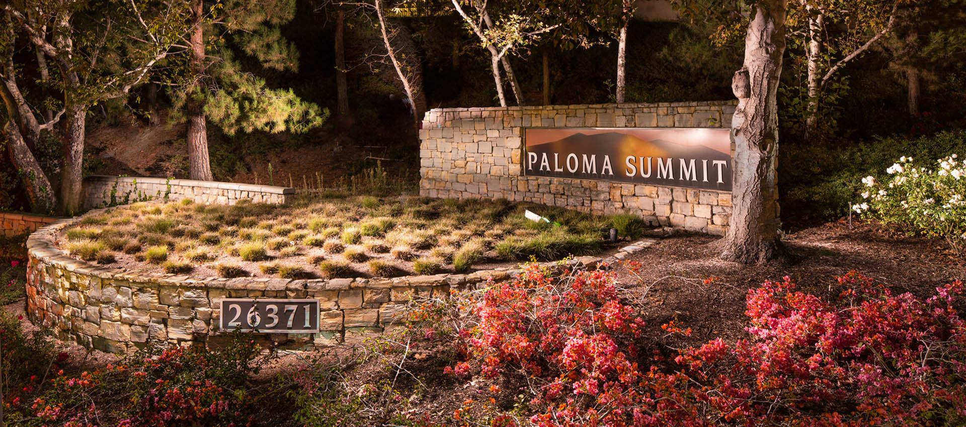 Signage at Paloma Summit Condominium Rentals in Foothill Ranch, CA