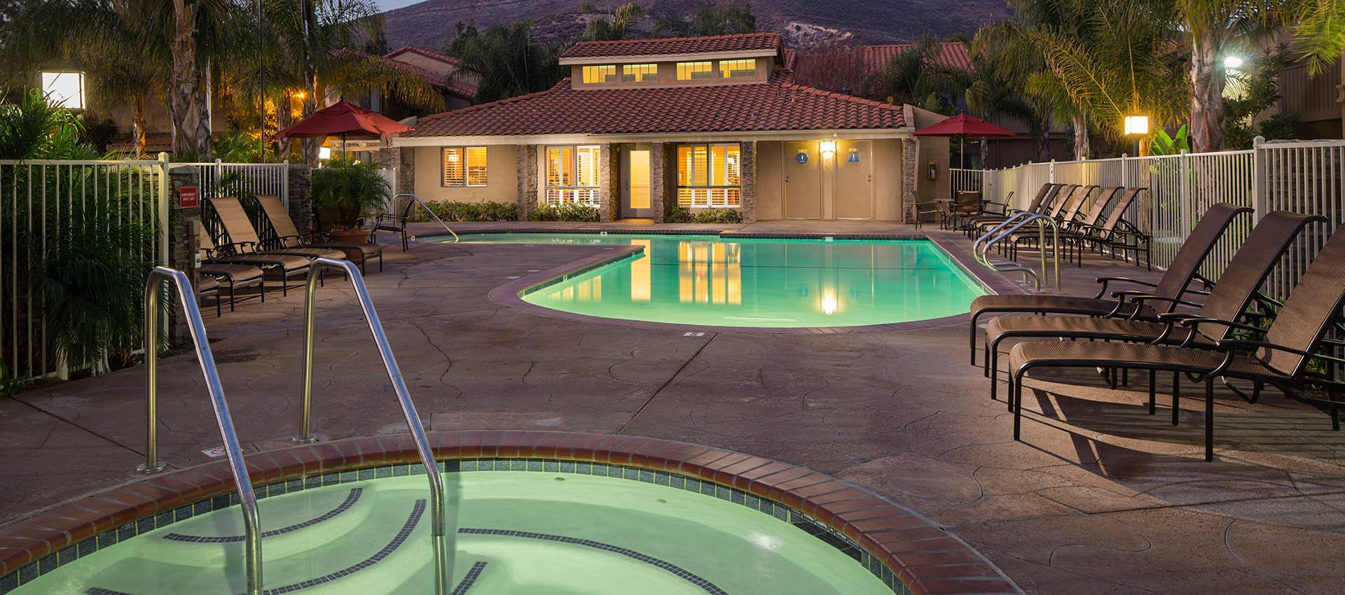 Expansive Pool Deck with Spa at The Villas & Overlook at Woodranch Apartment Homes in Simi Valley
