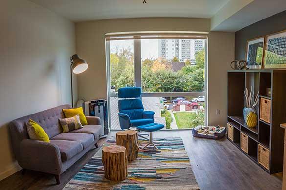 Wonderful living room at Montessa in Portland, Oregon