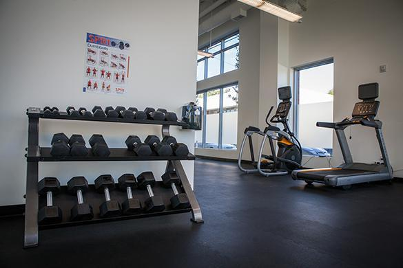Modern gym at the apartments for rent in Portland