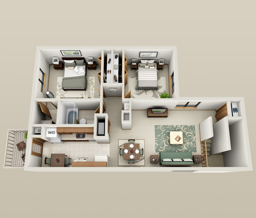 Homestyle floor plan at American Colony Apartments