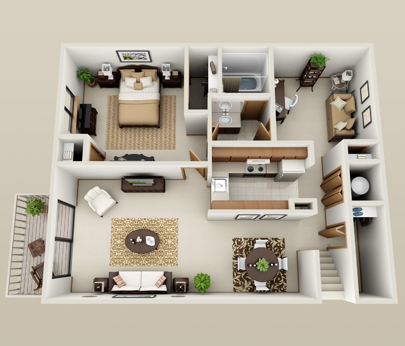 Oakwood floor plan at American Colony Apartments