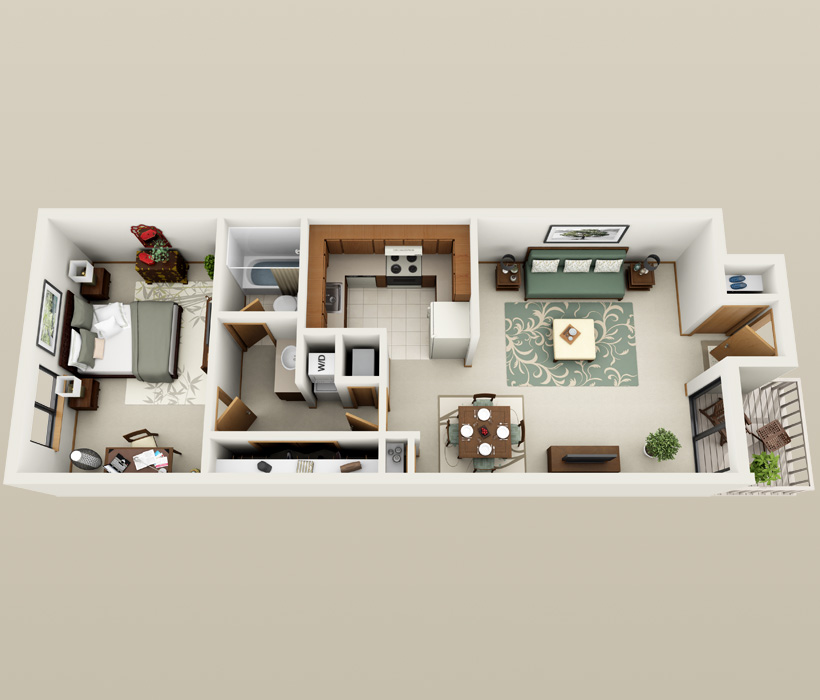 Sandstone floor plan at American Colony Apartments