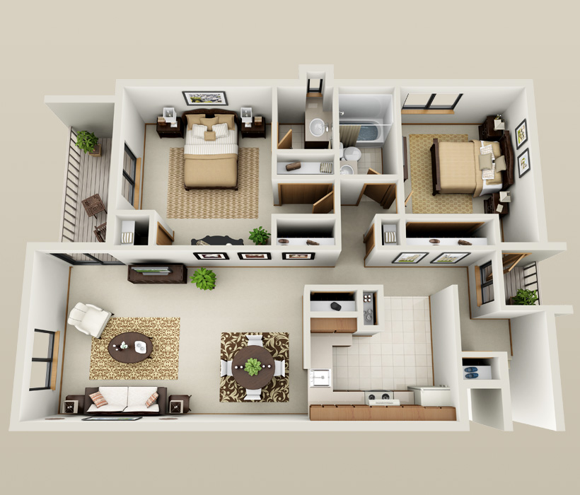 Woodview floor plan for American Colony Apartments