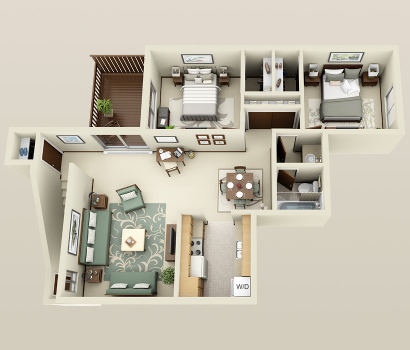 Two Bedroom floor plan at Briarwick Apartments