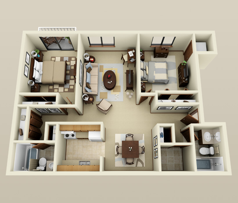2 bedroom floor plan at Ryan Green Apartments