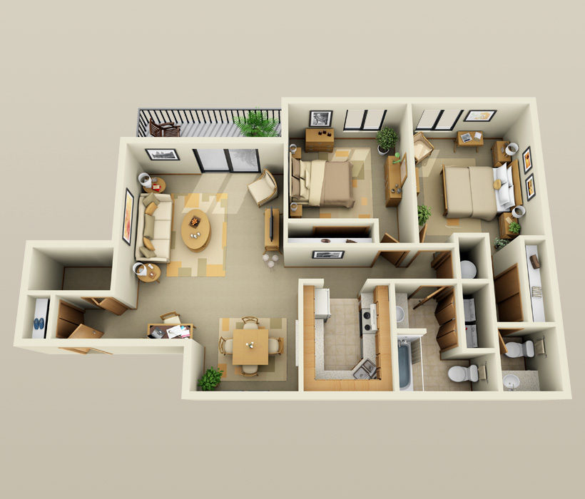 The Summit floor plan at Parquelynn Village Apartments
