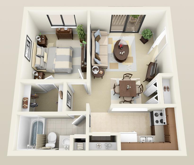 Salem floor plan at Heather Downs Apartments