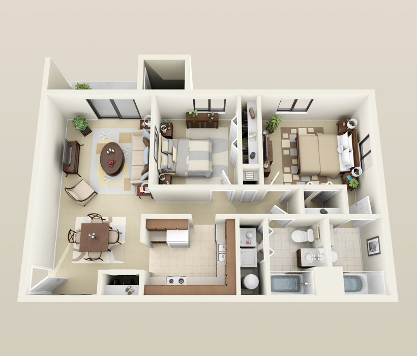 Affordable 2 bedroom apartments in madison wi for Modern 2 bedroom apartment design