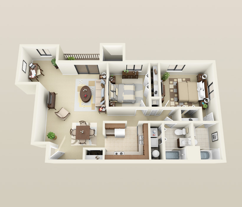 Large 2 Bedroom, 2 Bath floor plan for Heather Downs Apartments