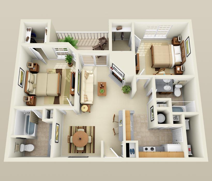 B-1 floor plan for Lincoln Ridge Apartments