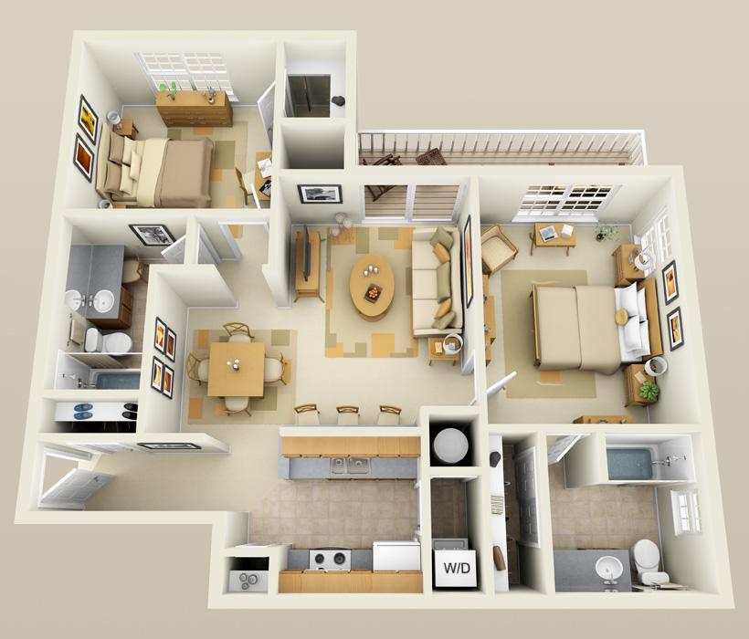 B-2 floor plan for Lincoln Ridge Apartments